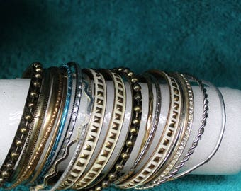 19 Vintage Bangle Bracelets Silver, Gold, Rhinestones and More !