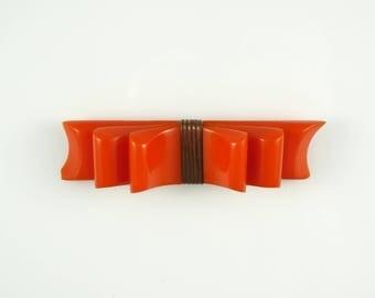 Bakelite Vintage Brooch Orange. Bakelite Bow Pin   - Tested. 1930s - 1940s Brooch. FREE DOMESTIC SHIPPING