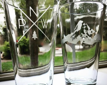 Pacific Northwest Etched Pint Glasses