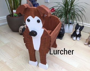 LURCHER,wooden dog planter,garden ornament