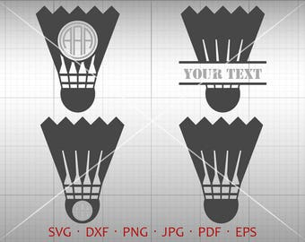 Badminton SVG, Shuttlecock Monogram Frame with Circle Font, Badminton Clipart Vector DXF Silhouette Cricut Cut File Commercial Use