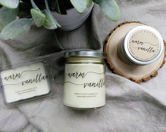 warm vanilla - hand poured soy candle