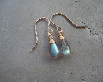 Wire wrapped labradorite earrings, labradorite gemstone earrings, 14k gold fill labradorite earrings, sterling silver labradorite earrings