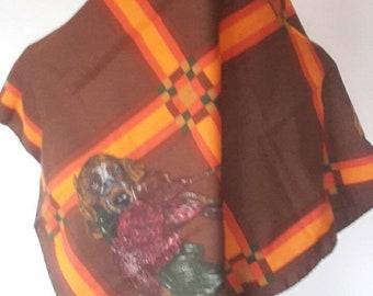 "Mother's Day -  1960 1970s Vintage retro scarf - Trevra - hunting theme - 75 x 75 cm / 29.5 x 29.5 """