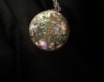Vintage Abalone Mayan Inspired Pendant and Necklace