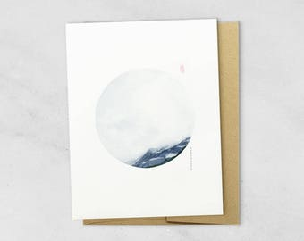 CD6 GREETING Card, Canada, note card, birthday card, watercolor mountain card,circle art, landscape card, earthy card, simple card,gift card