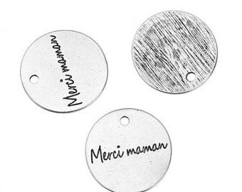 "5 charms antique silver engraved words ""thank you MOM"" 20mm"