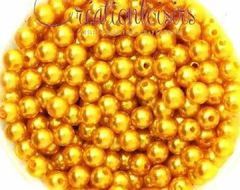 Lot 100 Acrylic Pearl round beads 6 mm yellow-orange