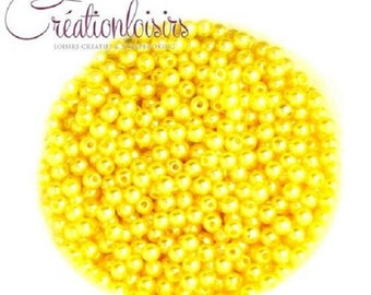 Set of 100 round beads Pearly acrylic yellow 4 mm