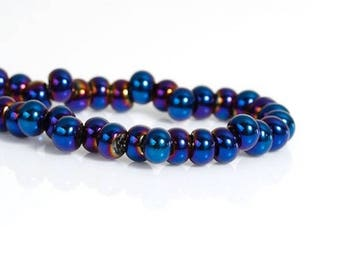 1 row 100PCs 6mm blue glass beads