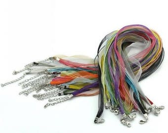 22 mixed neck sizes of organza cord with lobster clasp waxed length: 43.2 cm