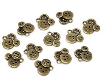 10 pendants charm Bronze button