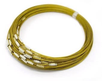2 gold plated wire Choker necklaces metal cable screw 44 cm