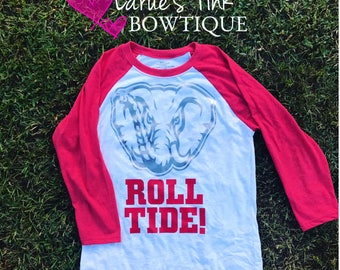 Ladies Elephant ROLL TIDE BASEBALL shirt tank / baseball shirt/ alabama shirt /crimson Tide girl/ Roll Tide shirt