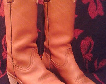 "Womens Size 6.5 M Durango Orange Tan Leather Cowboy Boots 1.5"" Heel Western Pull On Oil Gum Resistant Sole Embroidery Stitching Round Toe"