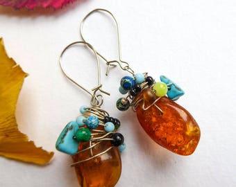 Earrings turquoise honey
