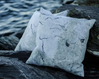 Grey felted pillow case
