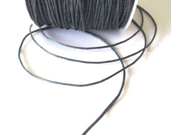 5 m - dark grey - waxed cotton cord 1 mm