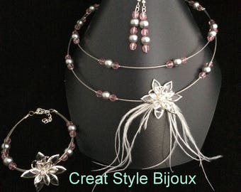 very beautiful feathers and pink and gray set ideal for wedding