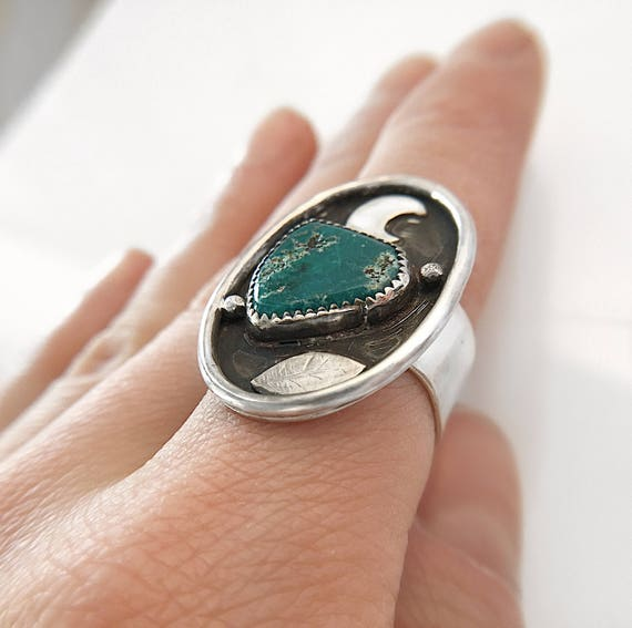 Turquoise Ring / Statement Ring / Sterling Silver Ring / Turquoise / Moon Ring / Boho Ring / Silver Ring / Gemstone Ring / Womans Ring