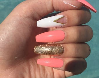 Coral and gold press on nails