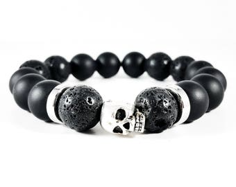 Onyx Skull~Handmade Bracelet~Black Onyx~Lava Stone Bracelet~Sterling Silver Skull~Skull Jewelry~Mens Beaded Bracelet~Gift for Him~Adjustable
