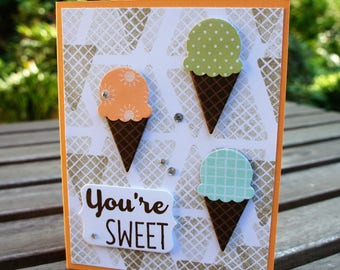 You're Sweet Ice Cream Cones Happy Birthday Card - Cool Treats, Tasty Treats Stampin Up Card