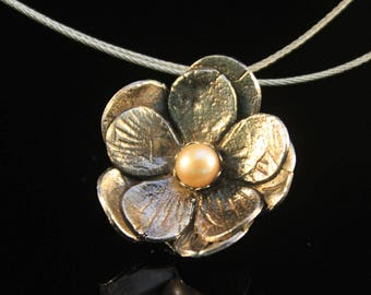 Clearance (60%) fine silver flower pendant with pearl delicate handcrafted designer pendant