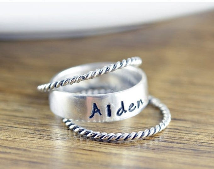 10% off SALE Mothers Ring - Stackable Name Rings - Gift for Mom -  Name Rings - Personalized Stacking Ring - Mothers Jewelry - Mothers Ring