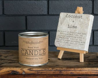 Coconut + Lime Soy Wax Wood Wick Candle