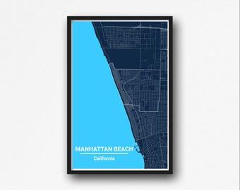 Manhattan Beach Map Wall Art - Printable Digital Download