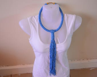 African Maasai Beaded Necklace | Blue Tie necklace | African Jewelry | Tribal Ethnic Necklace | One size fits all | Gift for Her
