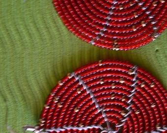African Maasai Beaded Earrings | Red Earrings|Drop & Dangle Earrings |Tribal Earrings |Gift For Her | Elegant Earrings