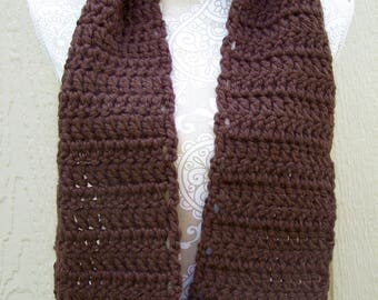 Dark Brown Crochet Scarf / Chunky Brown Scarf / Long Scarf / Brown Winter Scarf / Thick Scarf / Warm Winter Scarf / Chunky Crochet Scarf
