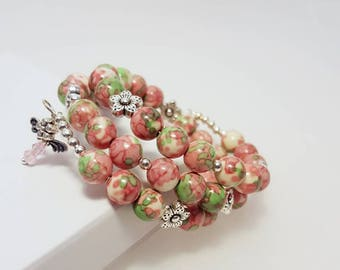 Beaded bangle bracelet, dangle earrings, handmade jewelry, Swarovski crystal, pink green jewelry set, bohemian jewelry, memory wire bracelet