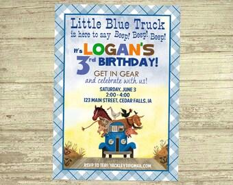 Little Blue Truck Birthday Invitation