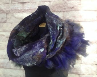 Wool soft scarf ombre scarf felted cowl women neck warmer orchid merino wool hood spring scarf cotton infinity cowl loop scarf