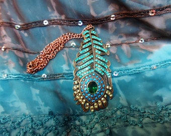 Peacock feather necklace and Swarovski rhinestones