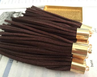 20pieces 90mm coffee suede leather gold metal ear tassel charms