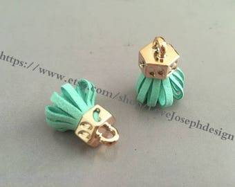 20pieces mint green suede leather KC gold caps ear tassel --for length 30mmx20mm(#0187)