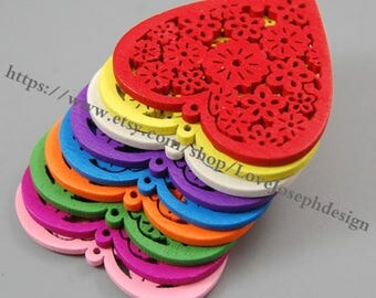 wholesale 50pieces Colorfull hollow Heart wood 45mm earring hollowHeart  Wooden Charms(#0409)