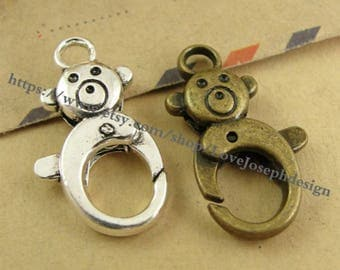 wholesale 20 Pieces /Lot Antique Silver plated 15mmx27mm bear Lobster clasps (#0436)