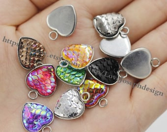 Wholesale 100 Pieces /Lot Antique Silver Plated 12mm heart cabochon bezel trays charms with 100pieces matching 12mm heart fish scale(#0445)
