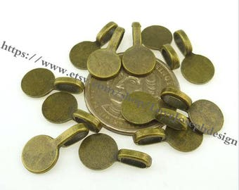 wholesale 100Pieces /Lot Antique Silver & Bronze Plated 19mmx10mm round glue on bails Charms (#0928)