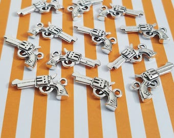 6pcs- 22mm silver charms revolver gun 3D double sided dangle beading jewelry supply embellish metal decorative necklace bracelet pendant