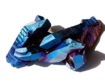 Blue Cobalt Aura Quartz Crystal Cluster, Blue Quartz Cluster, Rainbow Aura Quartz Cluster