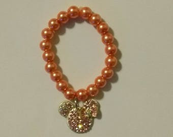 Rhinestone Minnie mouse inspired bracelets, gumball bracelet, breaded bracelet, kids bracelets,  bracelets, custom bracelet, baby bracelet