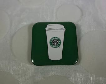 "Starbucks 1.5"" square pin back button"