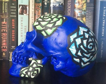 Blue & Green Hand Painted Skull Decor