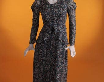 "Vintage 1970's Patterned Peplum, Maxi Dress by""Dodtex""1930's, Ossie Clark,Celia Birtwell  Style Size UK 6 US Size 2"